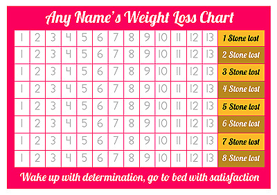 Personalised Weight Loss Chart - 8 stone - Laminated with 2 sheets of stickers