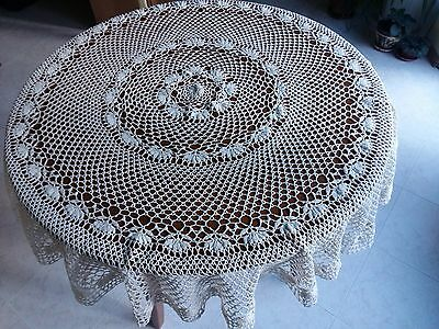 """ANTIQUE Vintage Handmade Cotton Crochet Lace Ivory Round Tablecloth 52"""" Flowers"""