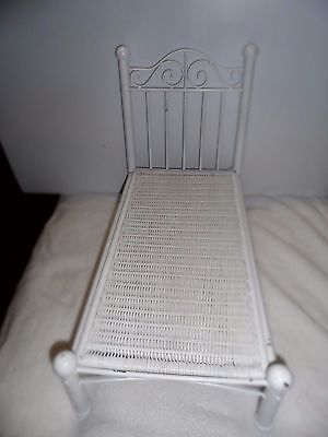 """Vintage metal/wicker bed for 18"""" doll"""