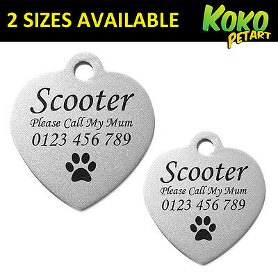 Stainless Steel Heart Dog Cat Puppy Pet ID Tag Personalised Engraved 2 Sizes