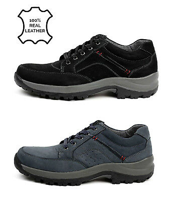 Mens Leather Shoes Walking Smart Casual Lace Up Comfort Hiking Smart Work Style
