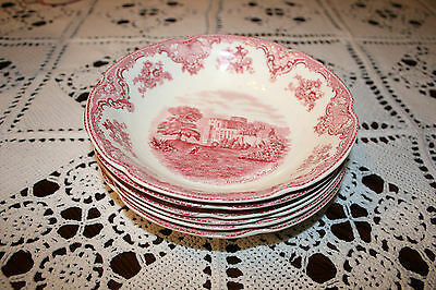 """Johnson Brothers Old Britain Castles soup bowls, 7"""" 1/2   set of 6. 1930s"""