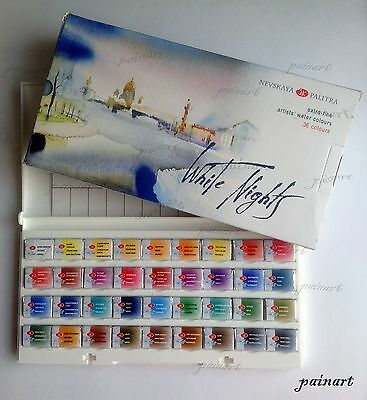 36 Watercolor White Nights paint set pans, St.Petersburg, Russia