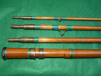 lovely vintage greenheart 4 pce travel or bicycle rod pike salmon ledger