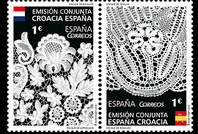 Spain 2015 - Joint Issue Spain & Croatia - Bobbin Lace pair mnh