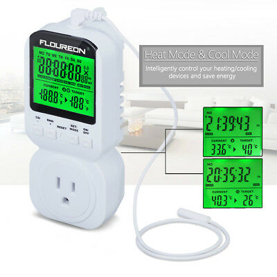 Floureon Thermostat Timer Switch Socket 12/24H Heat Cool Temperature Controller