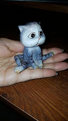 Ceramic Clay Miniature Figurine Grey Tabby Kitten Pottery Animals Collectibles
