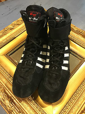 Wei-Rui Black White Suede Leather Wrestling Ankle Boots Weightlifting 46 10.5 11