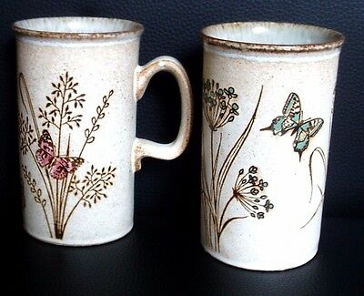 Dunoon Stoneware Pair Of Tall Butterfly Design Mugs - New