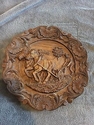 Vintage carved wood wall plaque Black Forest Style