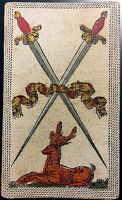 Two of Swords Minor Arcana c1820 Antique Tarot Playing Cards Painted Single +COA