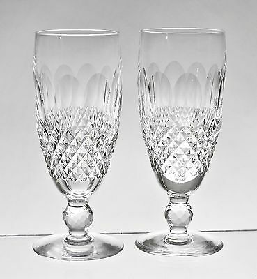"""cc441 PAIR WATERFORD COLLEEN 6"""" CHAMPAGNE GLASSES FLUTES"""