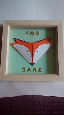 "Quirky gift, frame, picture, artwork, Origami. ""For Fox Sake"""