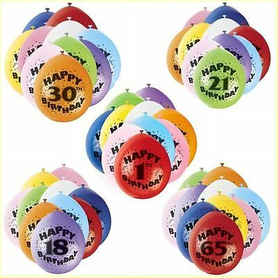 10 Happy Birthday Age Balloons  Number & Wording Printed Age 1-100th Party Decor