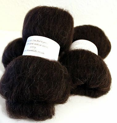 Black Welsh Hand Carded Batts 3 x 100g Felting Wool Spinning Fibre