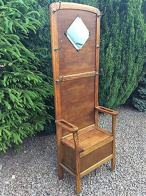 Lovely Antique Style Oak Coat Hat Stick Hall Stand With Seat Mirror & Storage.