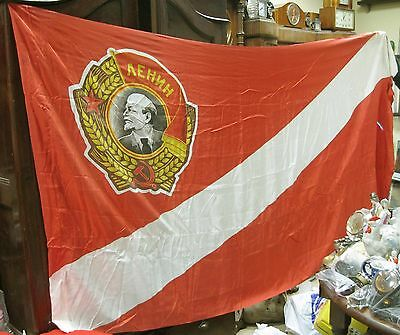 "Antique FLAG Banner DSO SPARTAK Soviet Union VERY BIG! 98,81 "" x 53,93 "" USSR"