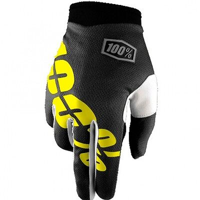 100% iTrack Black/Yellow Youth/Kids Gloves MTB Mountain BMX MX Bike Full Finger