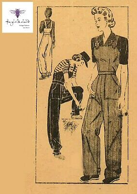 """Vintage 1940's Sewing Pattern WW2 Land Girl Army Rosie The Riveter Overalls B36"""""""