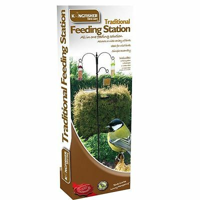 Kingfisher Black Metal Garden Wild Bird Care Traditional Feeding Station