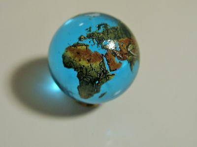 Orrery 35mm Aqua Crystal Glass Earth Marble.Globes,Art,Scientific,Collectables.