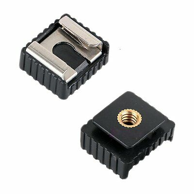 "HANDSOME 2 Packs Camera Metal Flash Hot Shoe Mount Adapter Base with 1/4"" Thread"