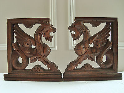 Rare Pair Winged Dragon Pediments Carved Wood Antique French Furniture Parts