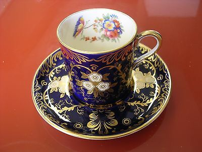 Aynsley Cup Saucer Gold Rare Hand Painted Floral Scene Signed Royalty Deco 7687