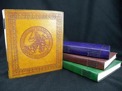 Medieval Knight - Large Handmade Leather Diary Journal or Guest Book - 4 Colours
