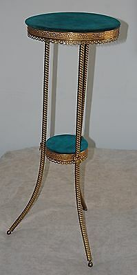 "Antique Brass Plant Stand 2 Tier Ball Feet 32"" Brass Plant Stand Eclectic Cool"