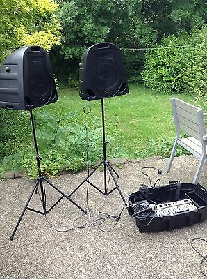 Free P&P. A Studiomaster Walkabout S Portable PA System inc FX and Stands. Mic