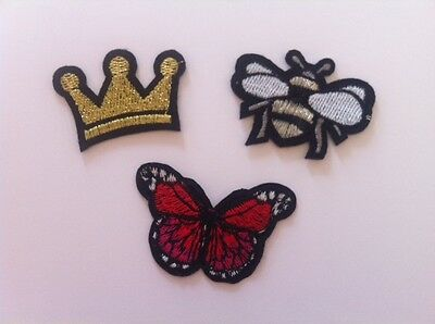 Queen Bee, Crown, Butterfly Patches Badges - Iron or Sew On NEW