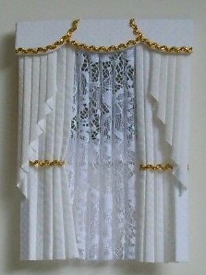 Dolls House Curtains White And Gold   Swag Effect