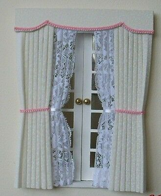 Dollshouse Curtains Cream Outside Bay With Pink Braid