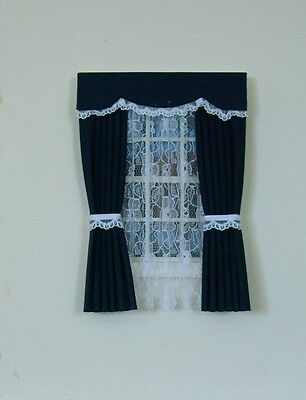 Dolls House Curtains Navy And Lace