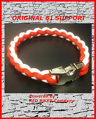 PARACORD SUPPORT RED & WHITE ARMBAND Original 81 Hells Angels Support