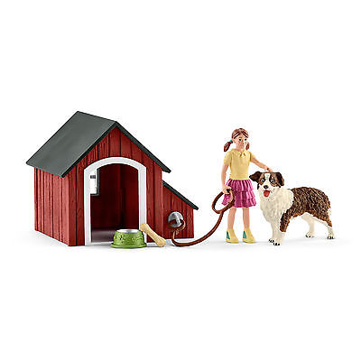 Schleich 42376 Australian Shepherd with Kennel Dog Toy Figurine 2017 - NIP