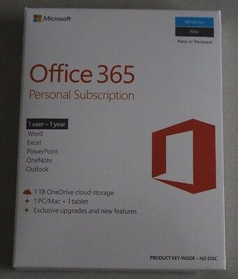 Microsoft office 365 One Year Personal Subscription for both Windows and Mac