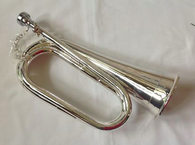 Professional Bb Silver Plated Bugle with Carry Case