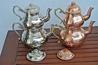 Hand Hammered TURKISH CAYDANLIK DOUBLE KETTLES TEAPOT Silver Copper Small Medium