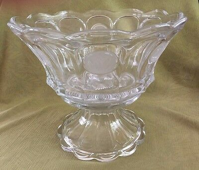 Fostoria Frosted COIN Glass PUNCH BOWL w/ Base (Clear) EXC.++ Condition