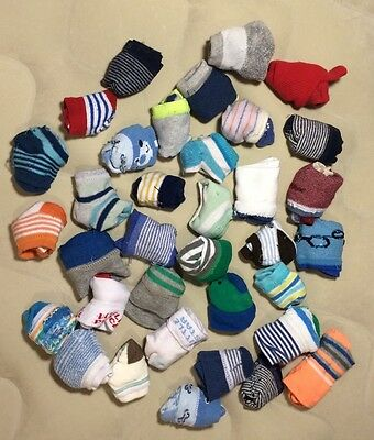 35 Pairs Of Baby Boy Socks, Size: 0-6 Months