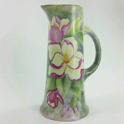 Antique Porcelain Tankard with Magnolia Blossoms