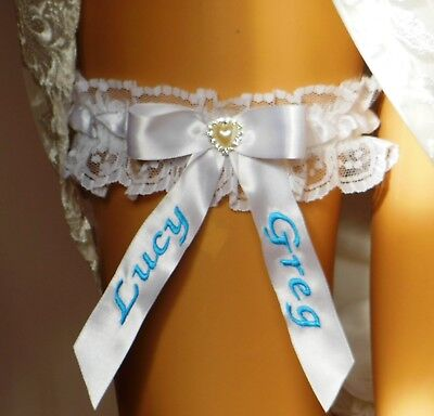 Something Blue Wedding Bridal Garter.  Personalised With Bride And Grooms Names.
