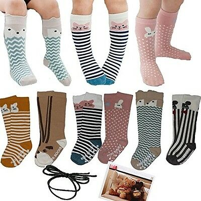 Yaobabymu 6 Pairs Unisex Baby Girls Boys Socks Toddler Cartoon Animal Knee High