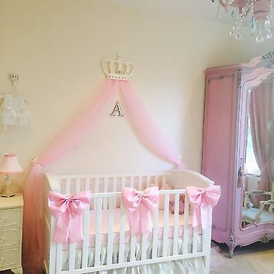 Nursery Decor Baby Girls Large Cot Bow Princess Bedding Set Pink White x 3 Bows