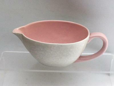 Poole Pottery Contour Shape Gravy Boat Glazed in Twintone C50 Pink & Seagull