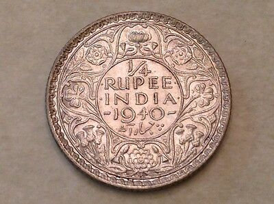 - 1940 B British India George VI  One Quarter 1/4 Rupee Uncirculated Unc