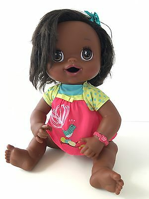 """2010 Baby Alive African American Interactive Doll Black Hair Talks Eats Wets 16"""""""