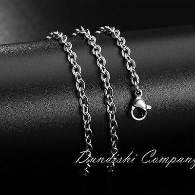 2.4mm Stainless Steel Chain Women Mens Necklace Bracelet Anti allergy Never Fade